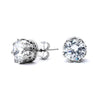 Round Cut Grade AAAAA CZ Stud Earrings in  Crown Setting