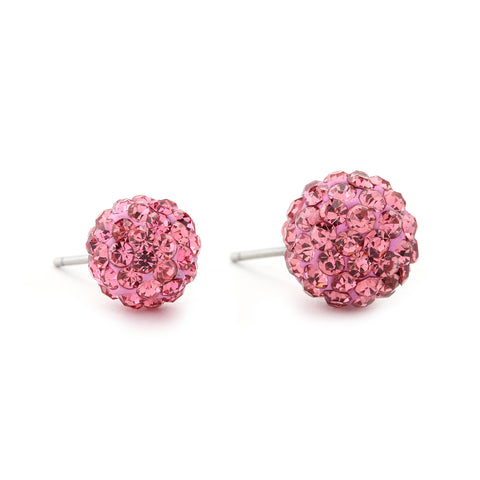 Disco Crystal Ball Earring - Pink