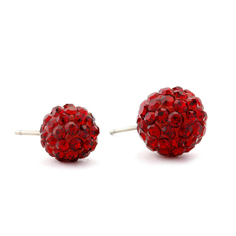 Disco Crystal Ball Earring - Red