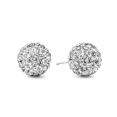 Disco Crystal Ball Earring - Silver