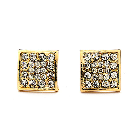 Pave CZ Square Earrings - 14-kt Gold Filled