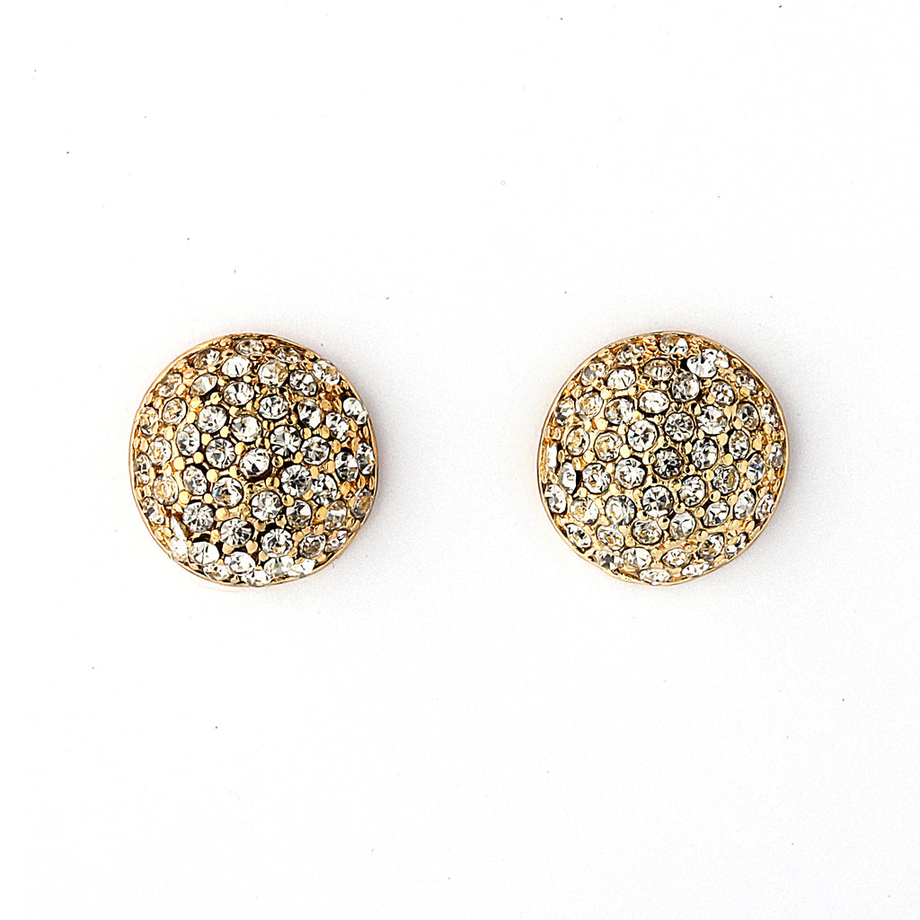 Pave CZ Dome Earrings - 14-kt Gold Filled