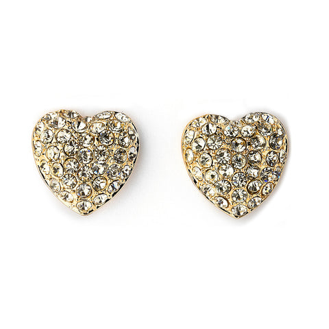 Pave CZ Heart Earrings - 14K Gold Filled