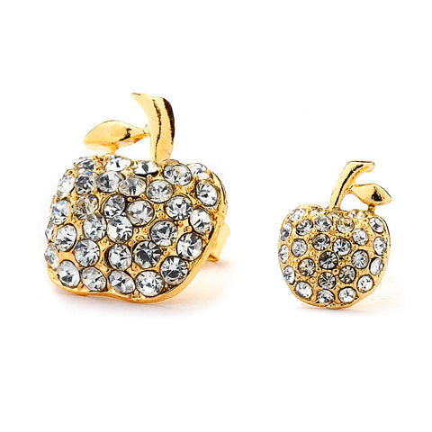 Pave CZ Apple Earrings 14-kt Gold Filled