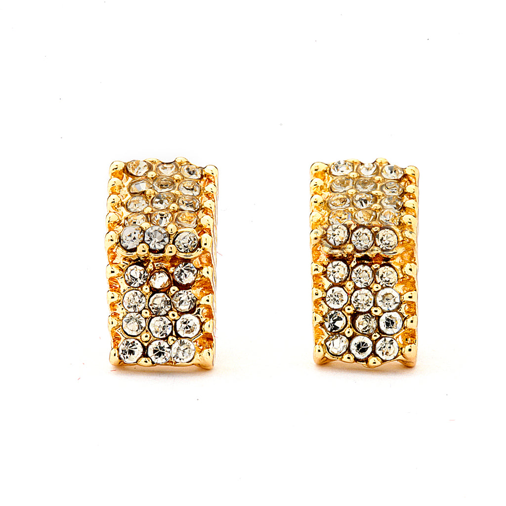 Pave CZ Rectangle Earrings - 14K Gold Filled