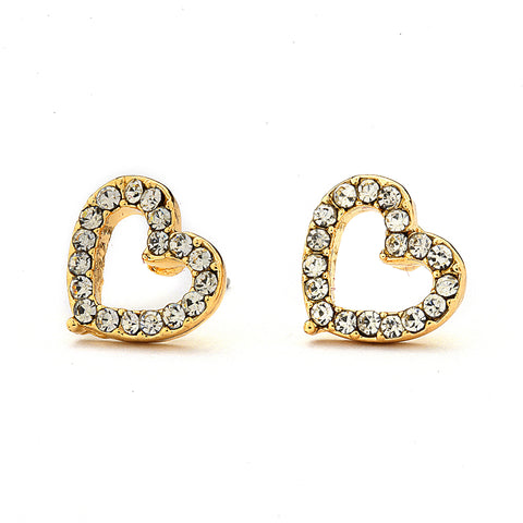 Pave CZ Hollow Heart Earrings - 14-kt Gold Filled
