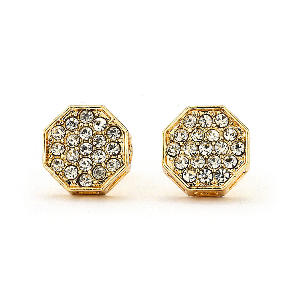 Pave CZ Octagon Earrings - 14K Gold Filled