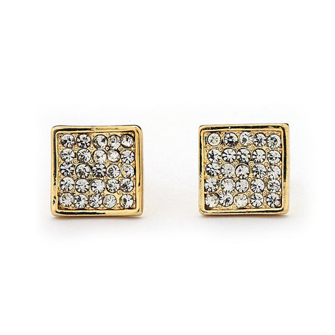 Pave CZ Square Earrings - 14K Gold Filled