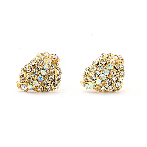 Pave CZ Heart Earrings with AB Crystal - 14K Gold Filled