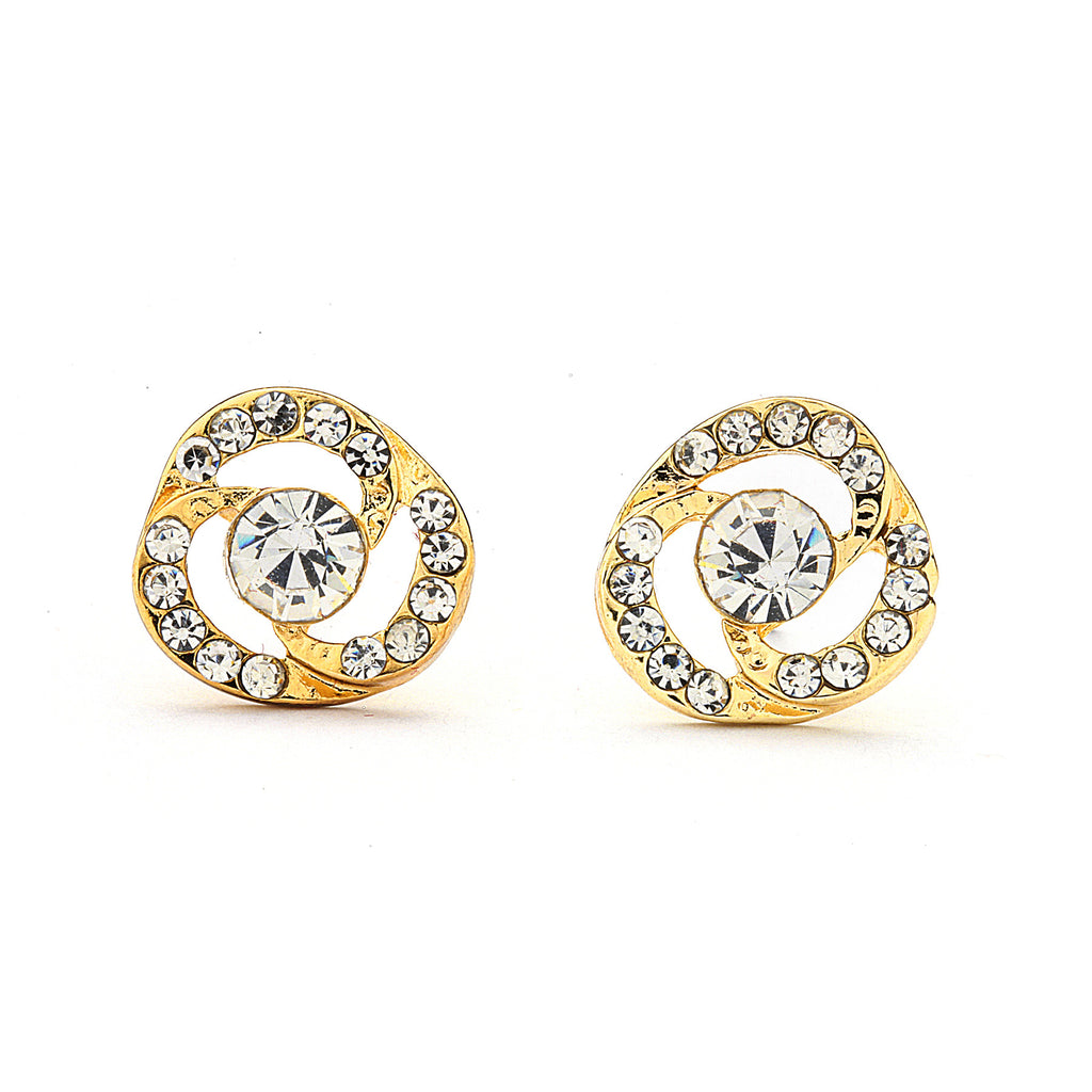 Flower Pave CZ with Center Stone Earrings - 14-kt Gold Filled