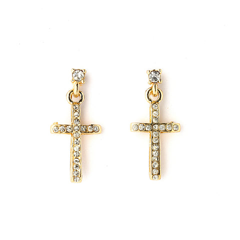 Pave CZ Cross Earrings - 14-kt Gold Filled