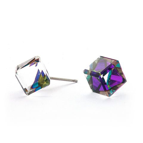 Crystal Cube Earrings 14-kt Gold Filled