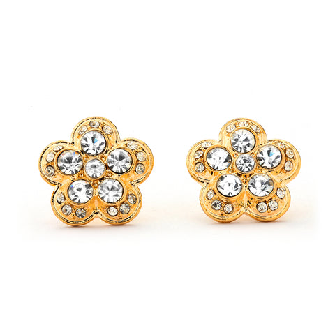 Flower CZ and Gold Earrings