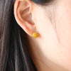 Disco Crystal Ball Earrings-Yellow