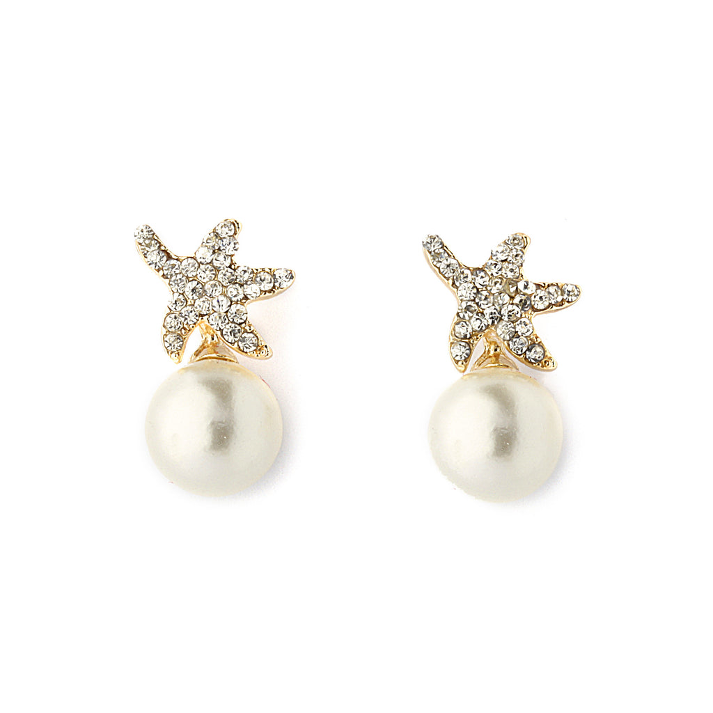 Pearl with Strarfish Pave CZ Earrings - 14-kt Gold Filled