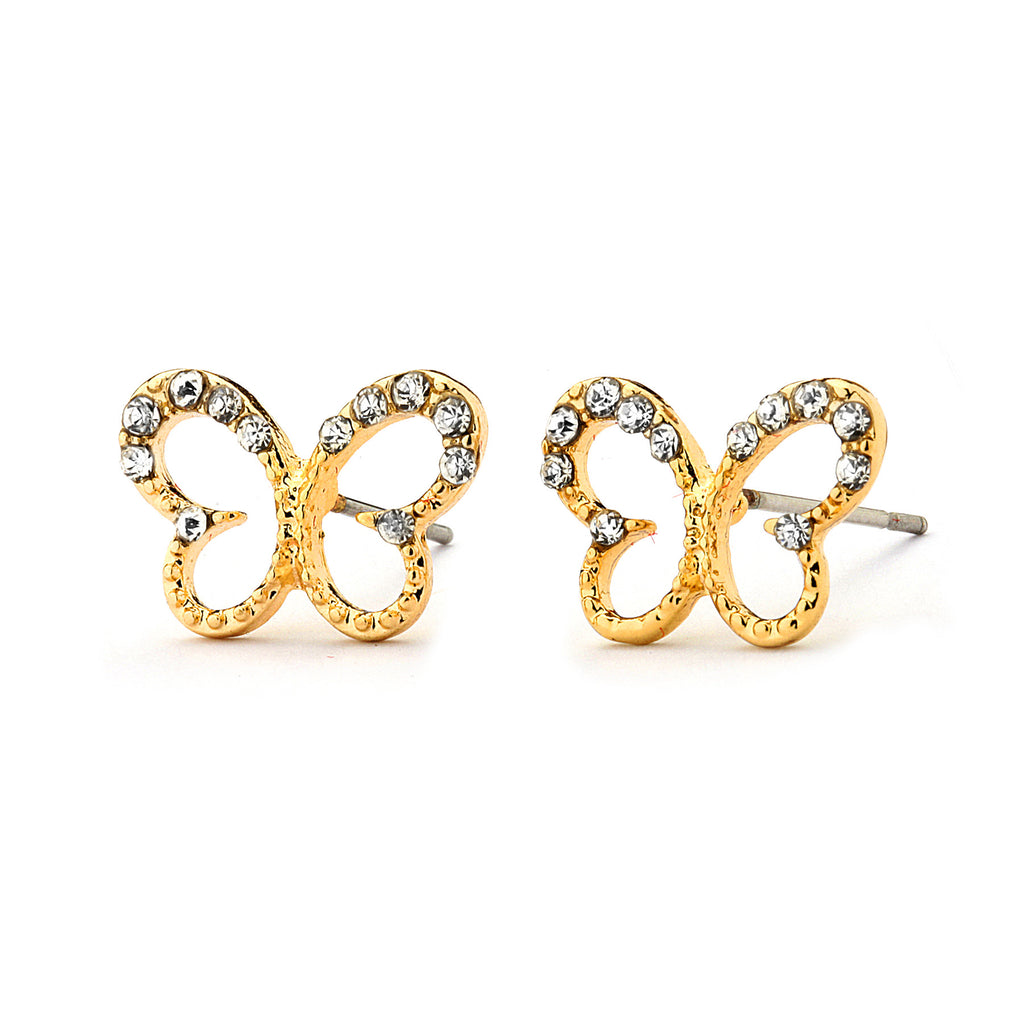 Pave CZ Butterfly Earrings 14-kt Gold Filled