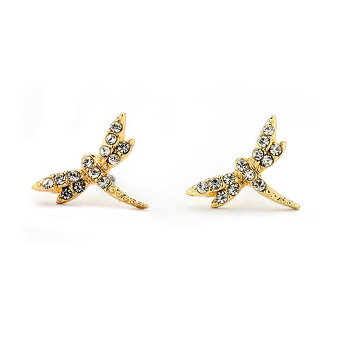Pave CZ Dragonfly Earrings 14-kt Gold Filled