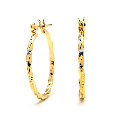 Twisted & Textured Hoop Earrings - 14K Gold Filled