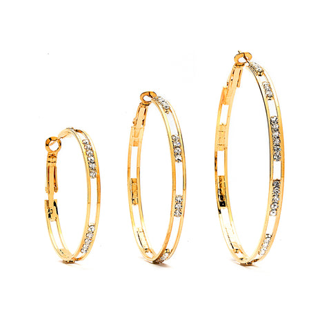 Premium Cubic Zirconia Interval Hoop Earrings - 14K Gold Filled