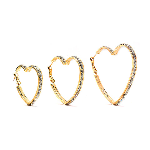 Premium Cubic Zirconia Heart Hoop Earrings - 14K Gold Filled