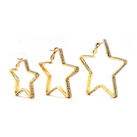 Premium Cubic Zirconia Star Hoop Earrings - 14K Gold Filled