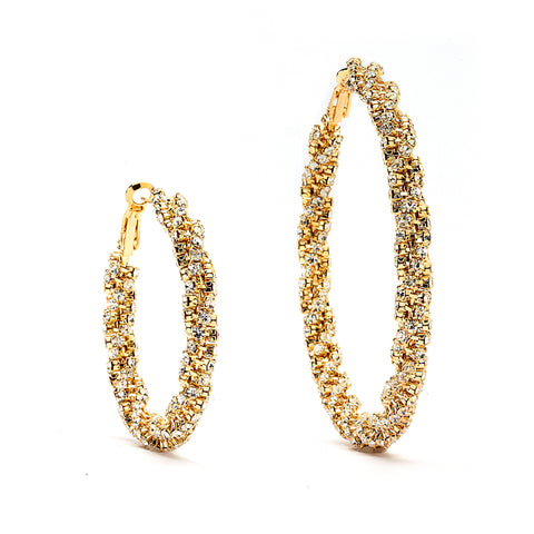 Premium Cubic Zirconia Twisted Hoop Earrings - 14K Gold Filled