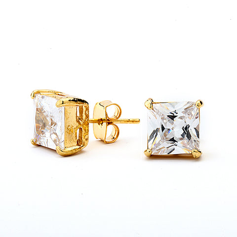 Princess Cut Grade AAAAA CZ Stud Earring. 14K Gold Plated.