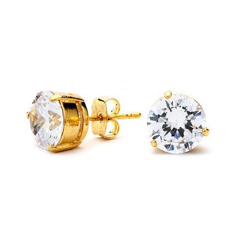 Premium Grade AAAAA CZ Stud Earrings. 14K Gold Plated.