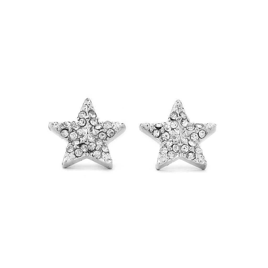 Pave CZ Star Earrings