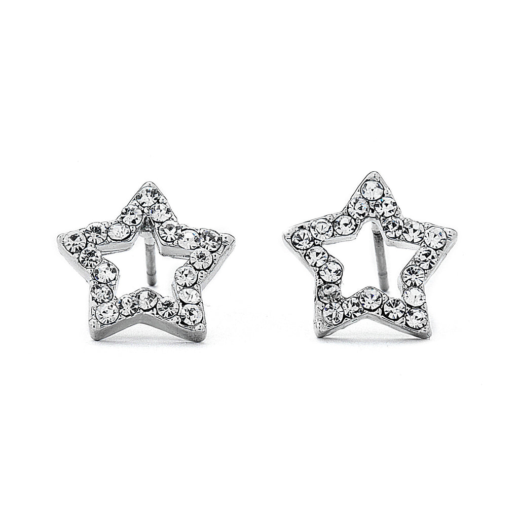 Pave CZ Hollow Star Earrings