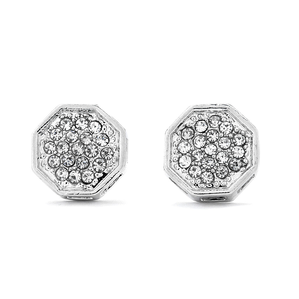 Pave CZ Octagon Earrings