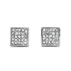 Pave CZ Square Earrings