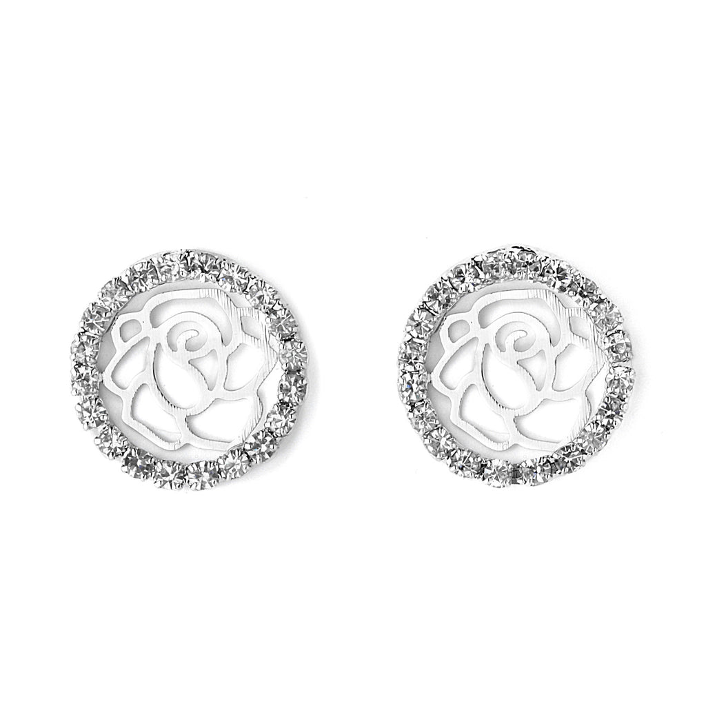 Round Pave CZ with Rose Pattern Earrings