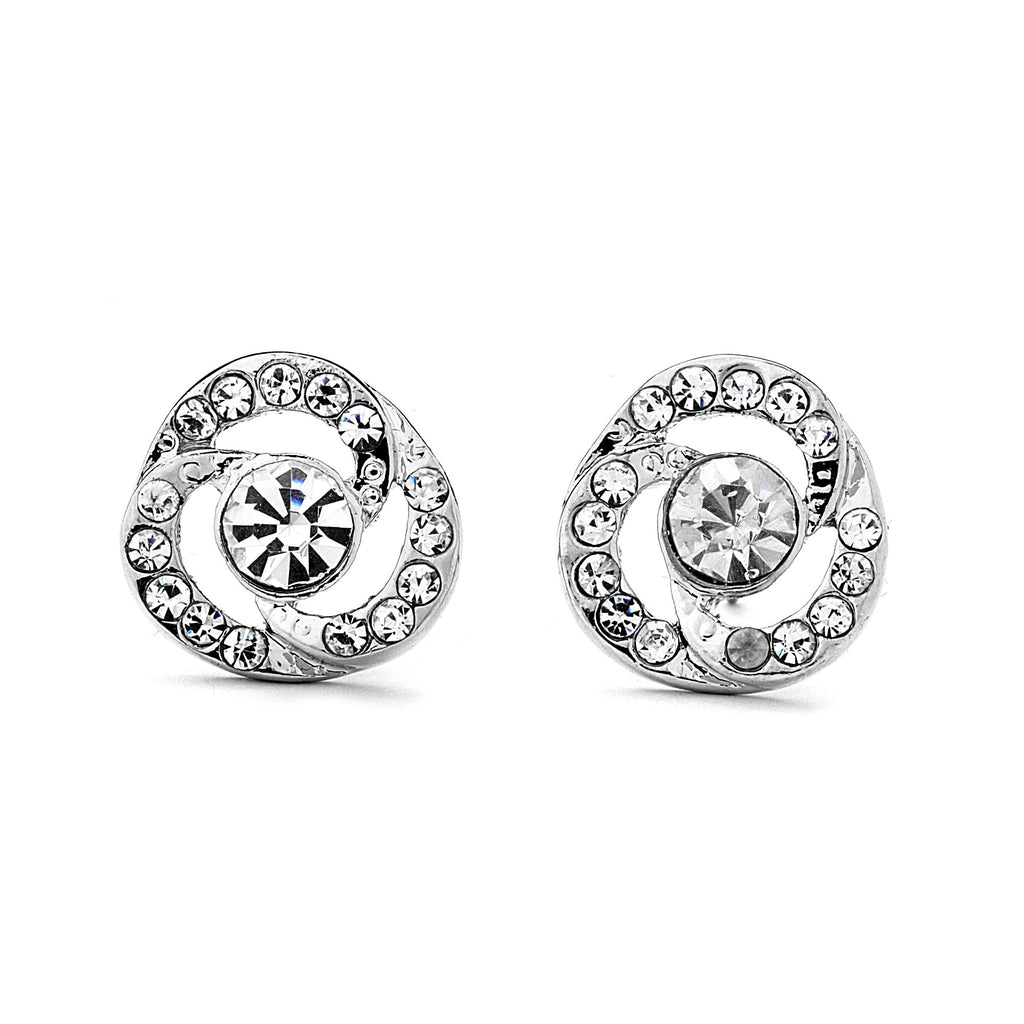 Flower Pave CZ with Center Stone Earrings