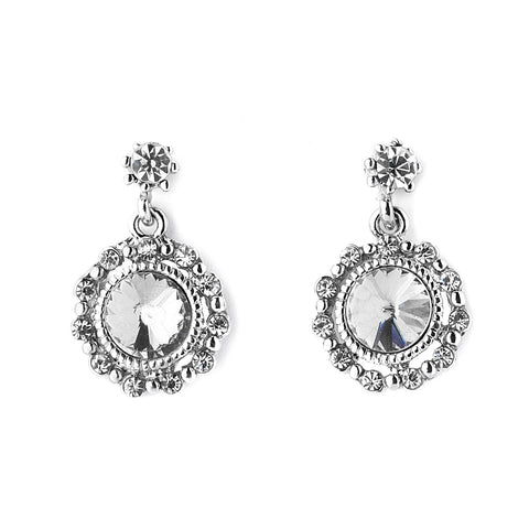 Tailored Crystal Solitaire Silver Drop Earrings