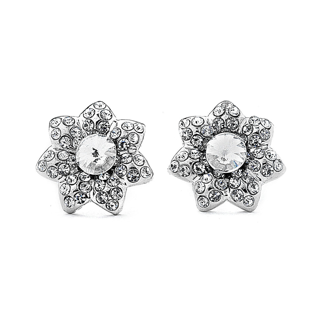Pave Flower with CZ Center Earrings