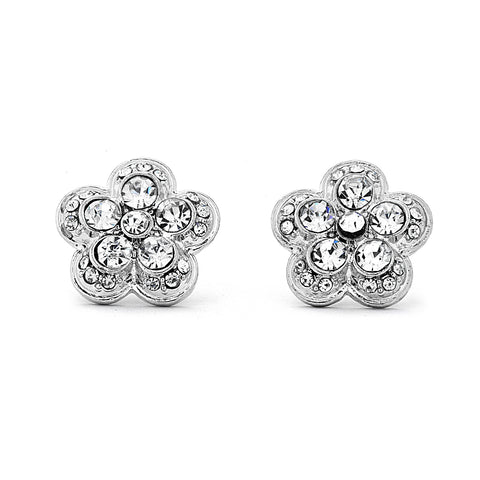Flower CZ and Silver Earrings