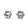Pave Flower with Pearl Center Earrings