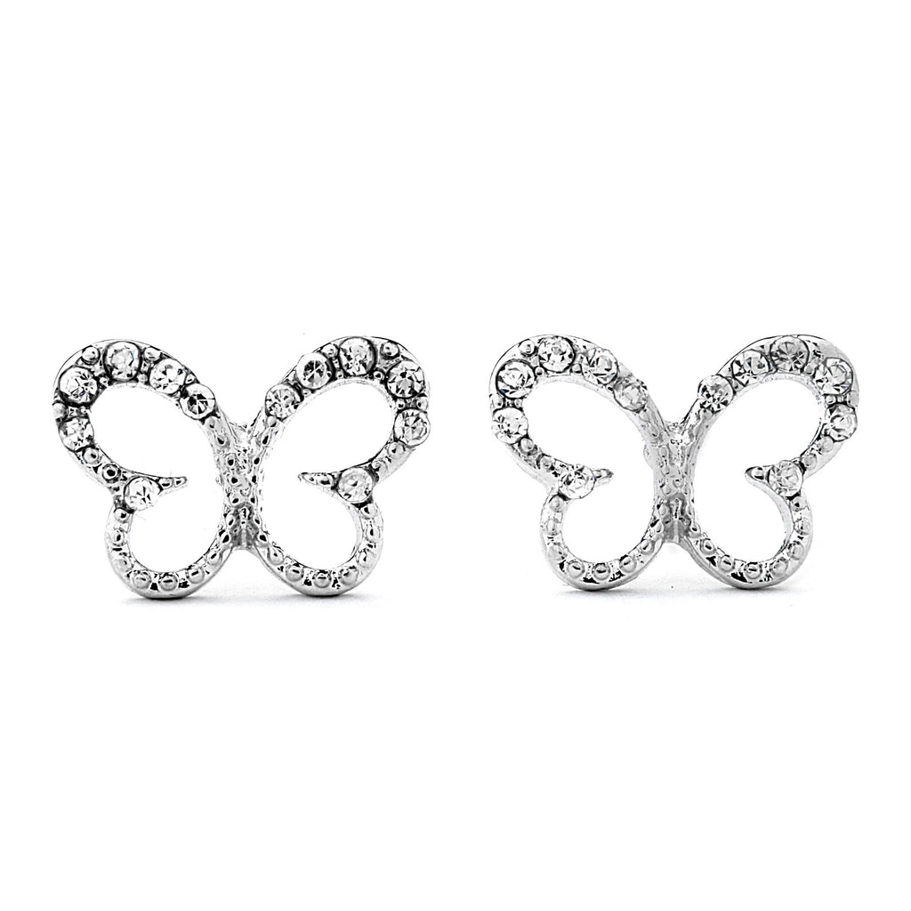 Pave CZ Butterfly Earrings