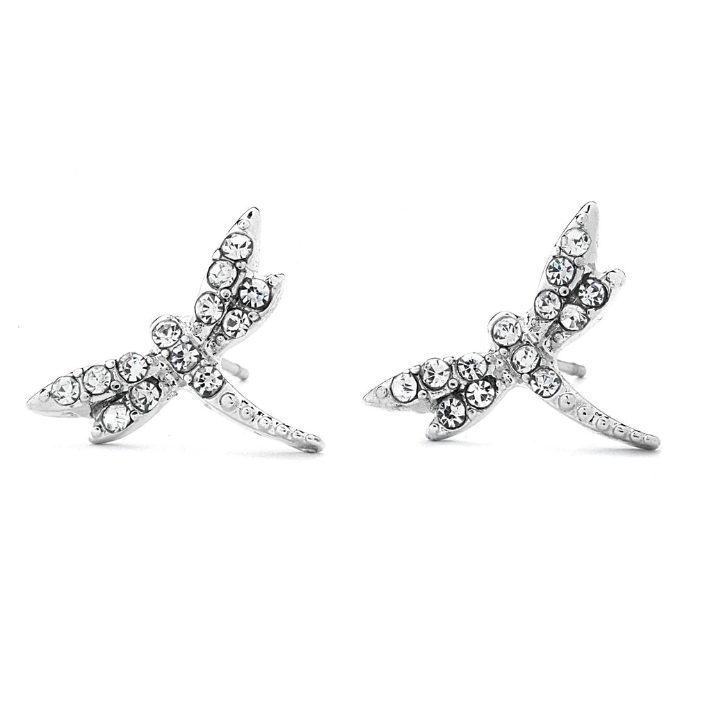 Pave CZ Dragonfly Earrings