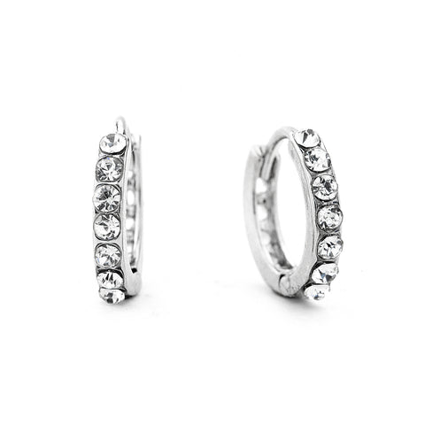 Premium Cubic Zirconia One Row Hoop Earrings