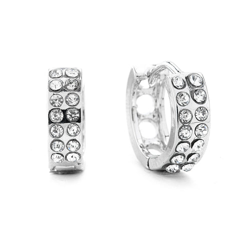 Premium Cubic Zirconia Two Row Hoop Earrings