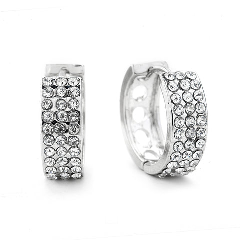 Premium Cubic Zirconia Three Row Hoop Earrings