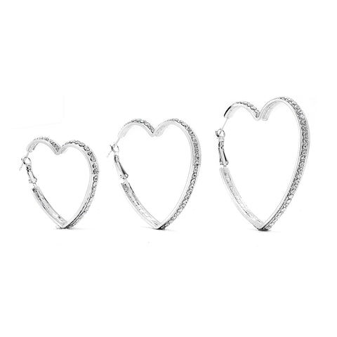 Premium Cubic Zirconia Heart Hoop Earrings