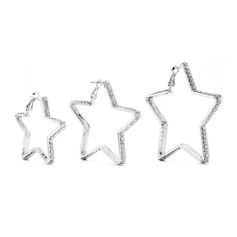 Premium Cubic Zirconia Star Hoop Earrings