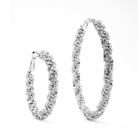 Premium Cubic Zirconia Twisted Hoop Earrings
