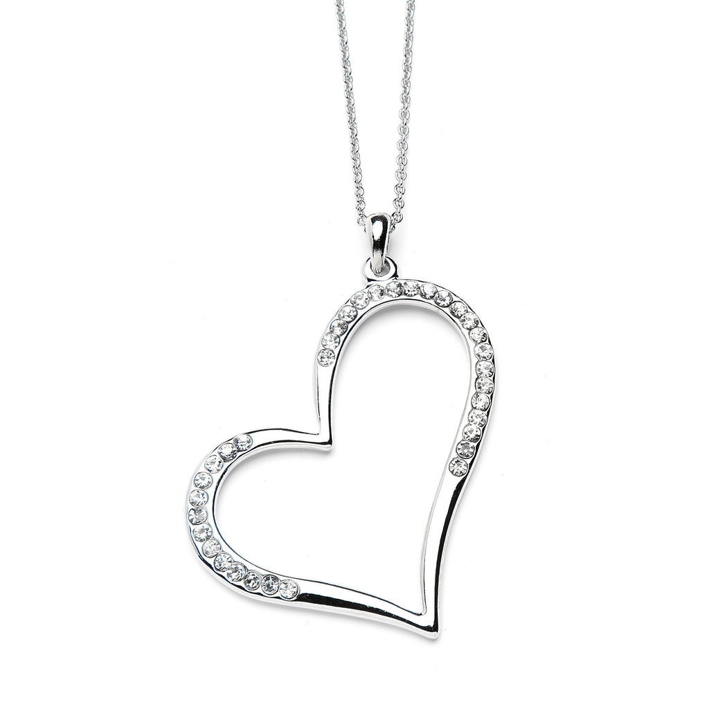 Large Heart Pendant Necklace with Premium CZ