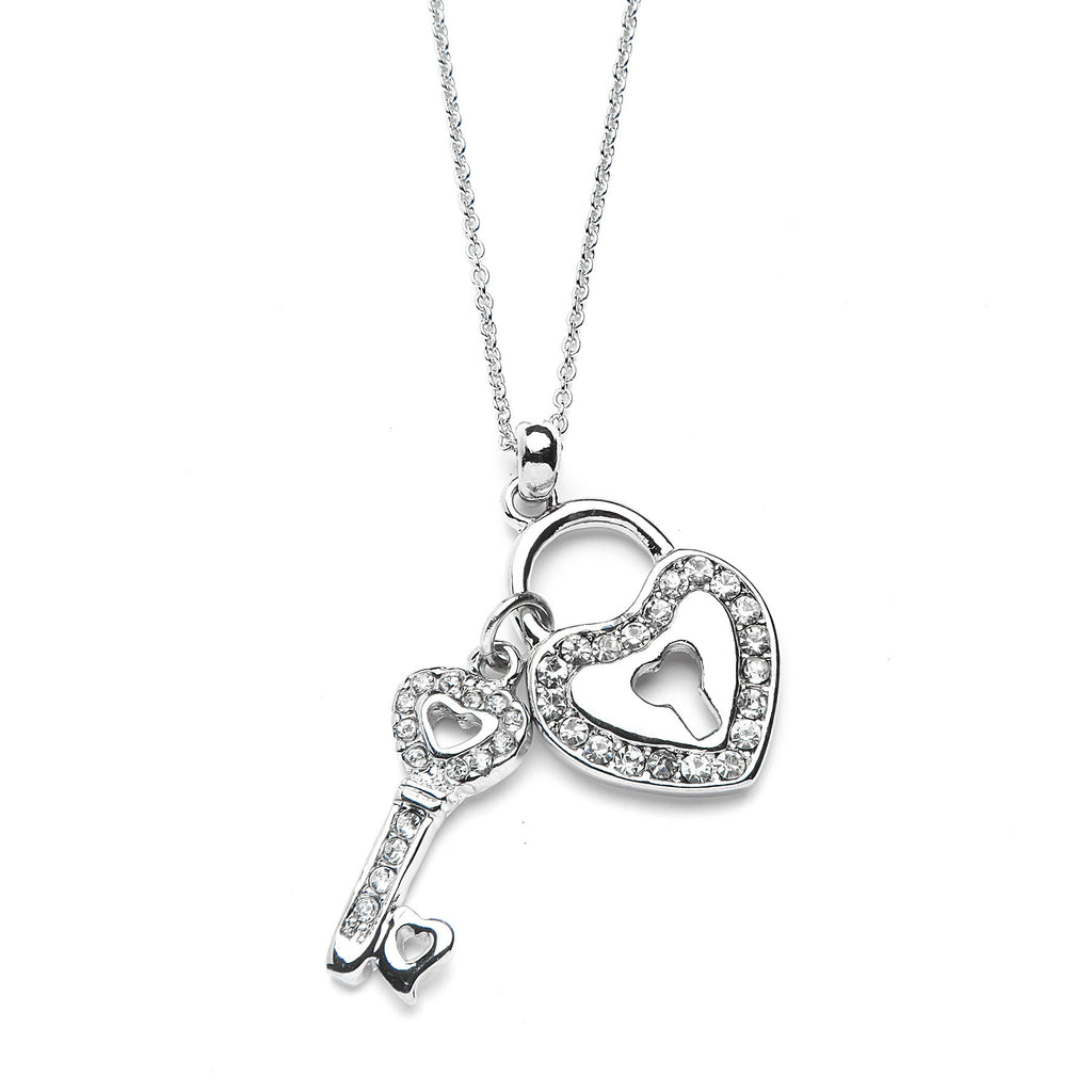 Heart Lock & Key Pendant Necklace with Premium CZ