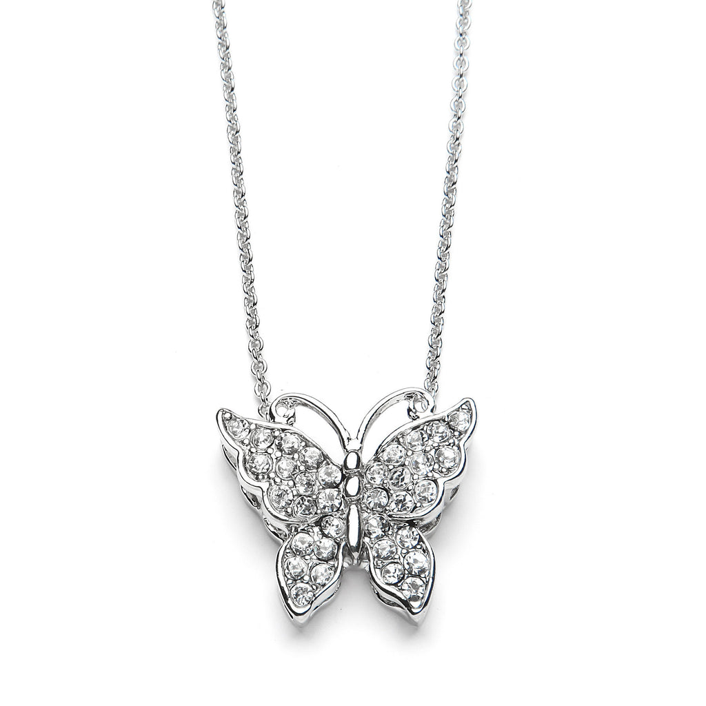 Small Butterfly Pendant Necklace with Premium CZ