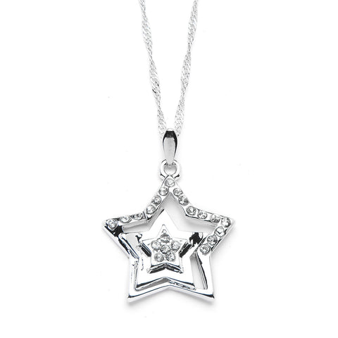 Three Star Pendant Necklace with Premium CZ